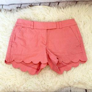 J. Crew Factory coral scalloped hem chino shorts